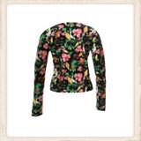 Vest Short Black Flowers_