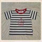 Ecru T-shirt met zeilboot_