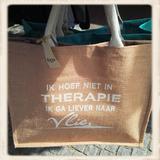 """""""Ik hoef niet in Therapie"""" jute tas_"""