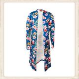 Vest Long Cobalt Blue Flower _