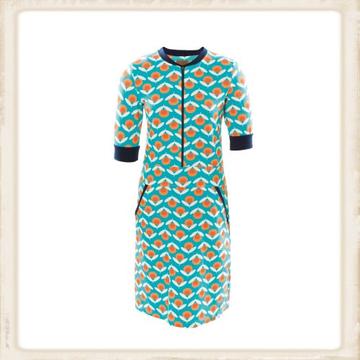 Blue Retro Flowers zipper dress