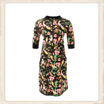 Black Flowers zipper dress