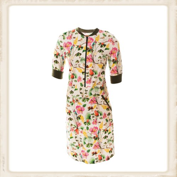 White Flowers zipper dress