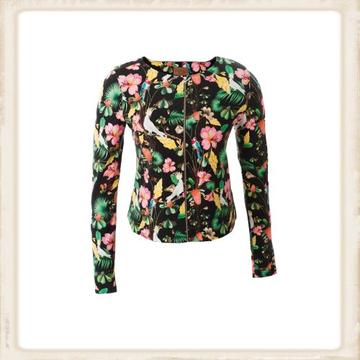 Vest Short Black Flowers