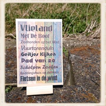 Houten kaart 'Vlieland met de boot'