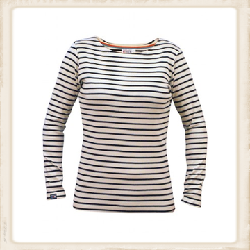 Breton shirt lange mouw - naturel navy