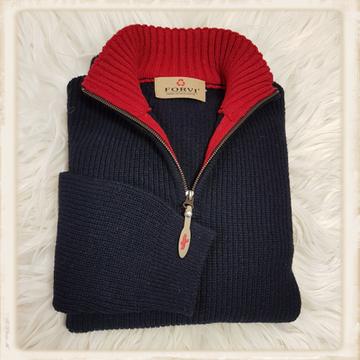 Forvi trui - Blauw met rode kraag - 948 157
