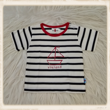 Ecru T-shirt met zeilboot