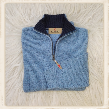 Forvi trui - Lichtblauw met donkere kraag - 948 181