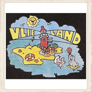 Kleurige print met de vuurtoren van Vlieland