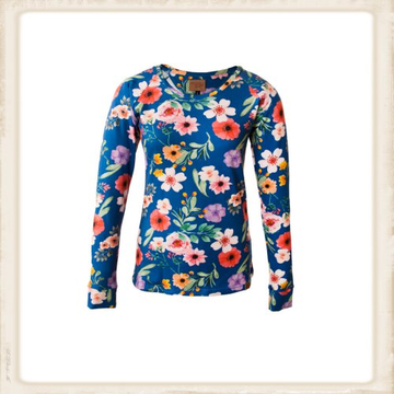 Longsleeve Happy Cobalt Blue Flower