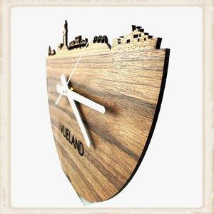 Klok skyline Vlieland eikenhout