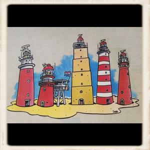 """Sweater met print """"wadden vuurtorens"""""""