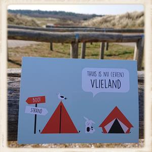 Kaartje 'Thuis is nu even Vlieland'
