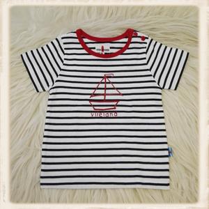 Ecru-blauw T-shirt met zeilboot