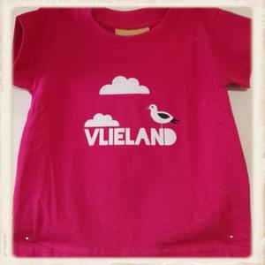 Print met Vlieland, meeuw & wolkjes